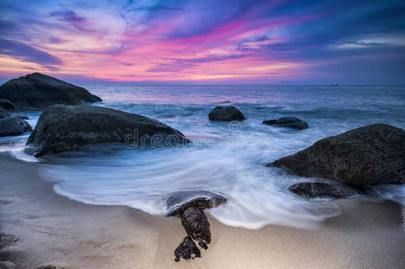 Rocks and Blue Hour Sunset. Rocks and Blue Hour Sunset royalty free stock photo