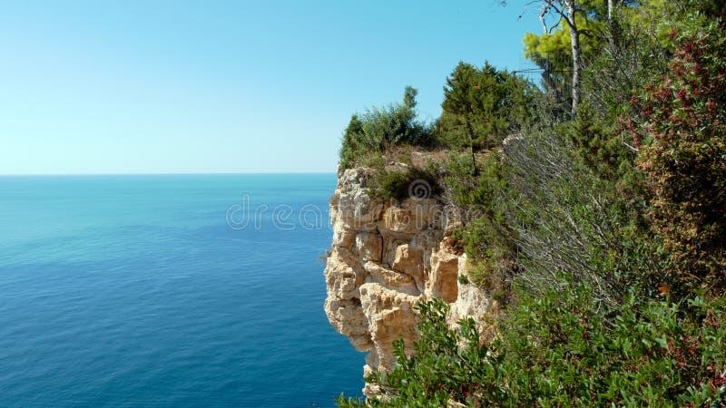 The rocks of Cape Keri, Zante island. In the background the Ionian sea stock photos