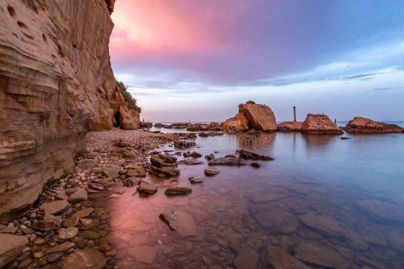 Rocks and cliffs on the Italian east coast. Ortona e la punta di acqua Bella royalty free stock images
