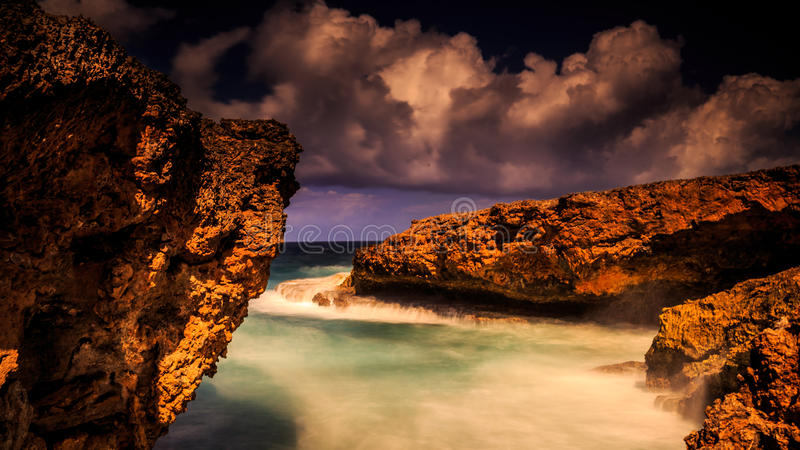 Rocks at Curacao stock photo