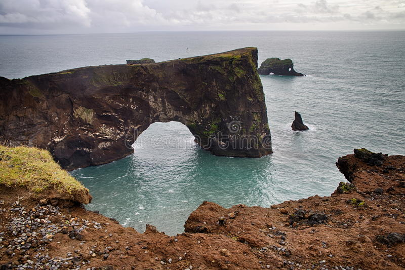 Rocks of Dyrholaey. In Iceland stock photo