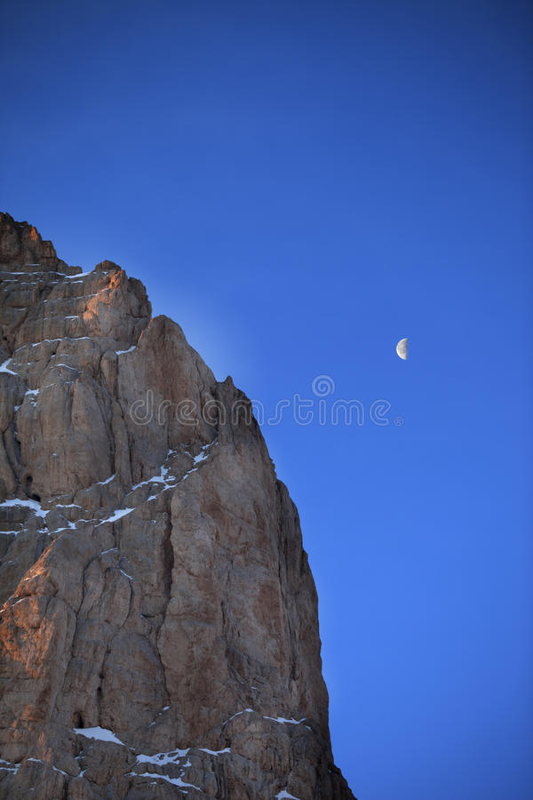Download Rocks At Early Morning And Blue Sky With Moon Stock Image - Image of high, early: 34575161