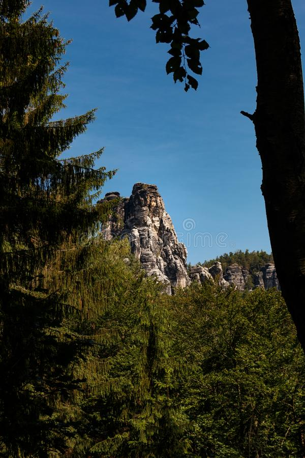 Rocks in the Elbe Sandstone Mountains in Saxon Switzerland. Germany stock images