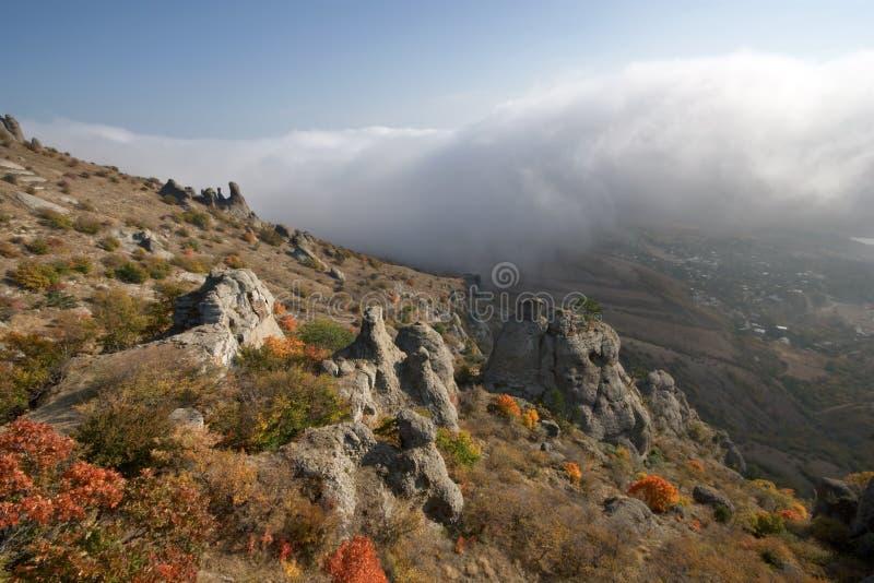 Rocks, fog in autumn Crimea mountains. Landscape. stock photo