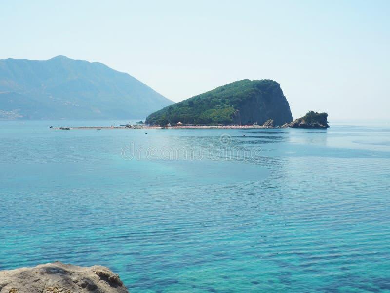 Rocks formations. Sea scape of Budva,Montenegro. Still sea on sunny day. stock photography
