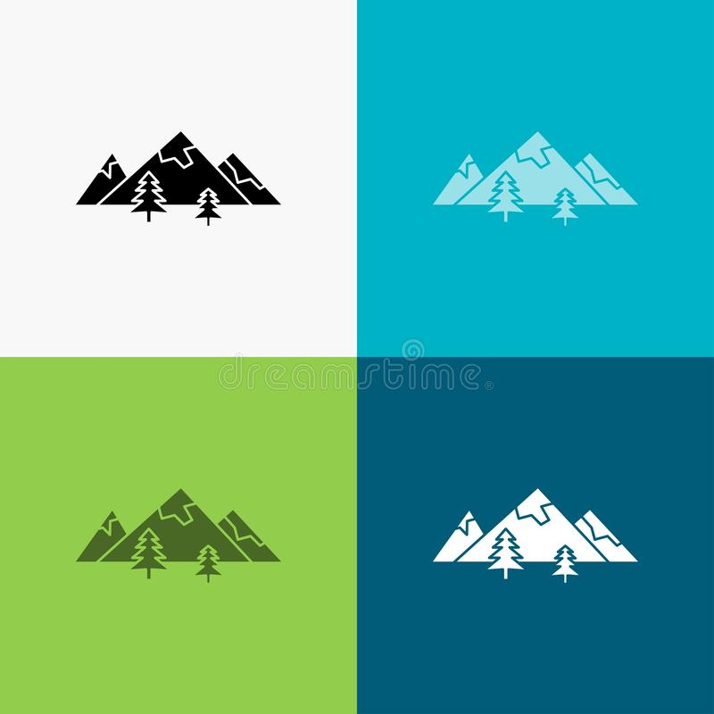 Rocks, hill, landscape, nature, mountain Icon Over Various Background. glyph style design, designed for web and app. Eps 10 vector. Illustration. Vector EPS10 stock illustration