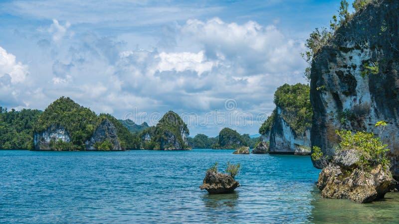 Rocks Landscape in Kabui Bay near Waigeo. West Papuan, Raja Ampat, Indonesia.  royalty free stock photos