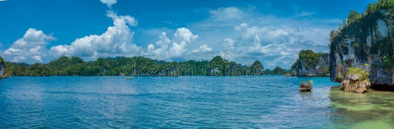 Rocks Landscape in Kabui Bay near Waigeo. West Papuan, Raja Ampat, Indonesia. Banner royalty free stock image