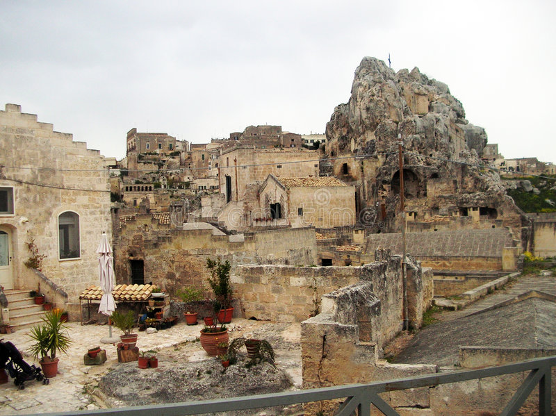 Rocks of Matera. The town of Matera with the characteristic building in the south of Italy royalty free stock photo