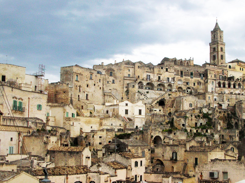 Rocks of Matera. The town of Matera with the characteristic building in the south of Italy stock photography