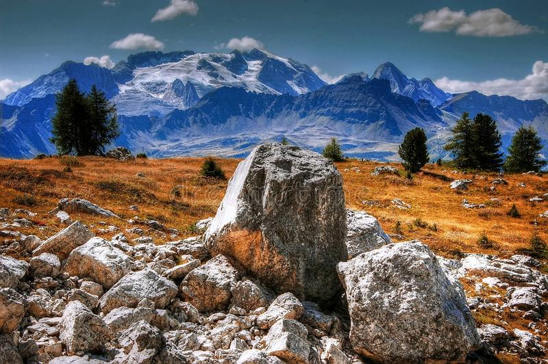 Rocks on mountain meadow royalty free stock image
