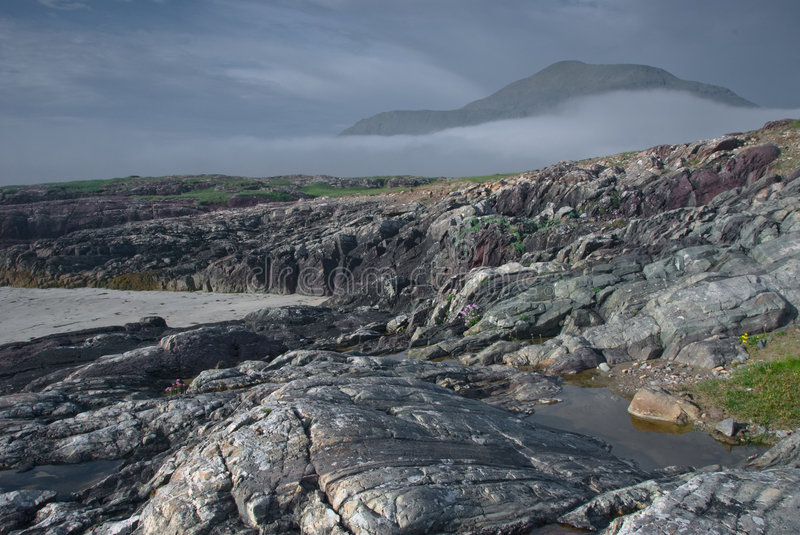 Download Rocks And Mountain By Sea, Ireland, Connemara Stock Image - Image of galway, green: 6039817