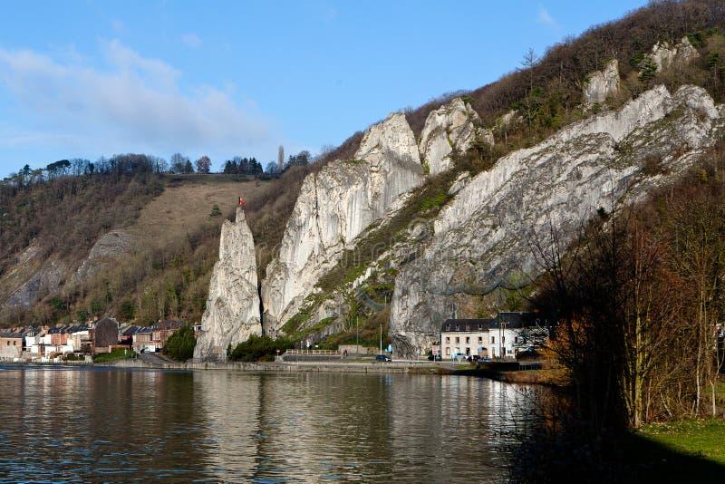 Meuse river rock Dinant, Belgium stock image