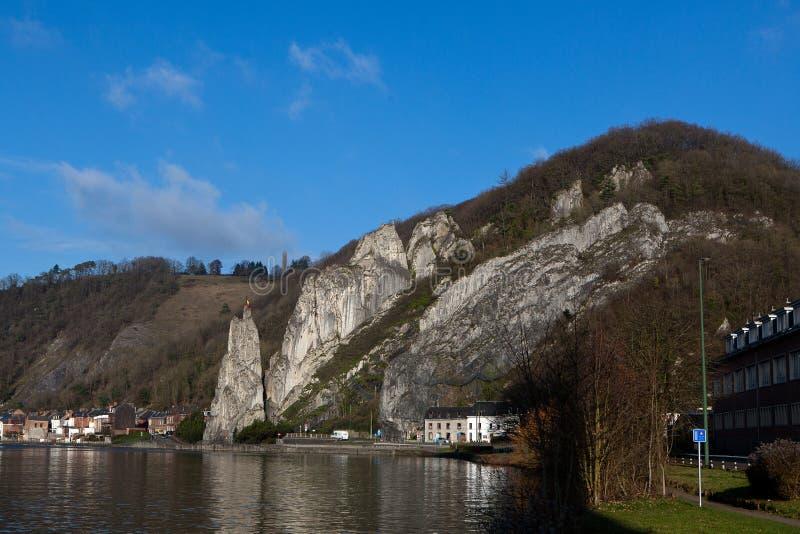 Meuse river rock Dinant, Wallonia, Belgium stock images