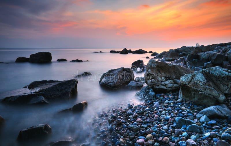 Rocks nd stones at Salthill beach, galway, Ireland stock image