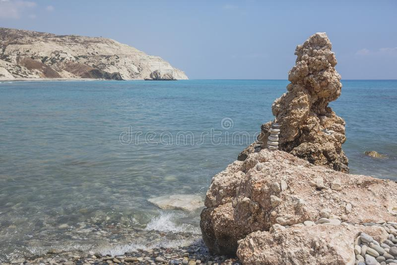 Rocks near the birthplace of Aphrodite, Cyprus landscape. stock photo