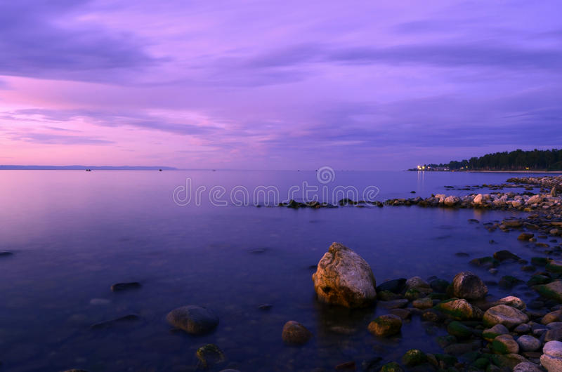 Baikal lake at sunset stock photos