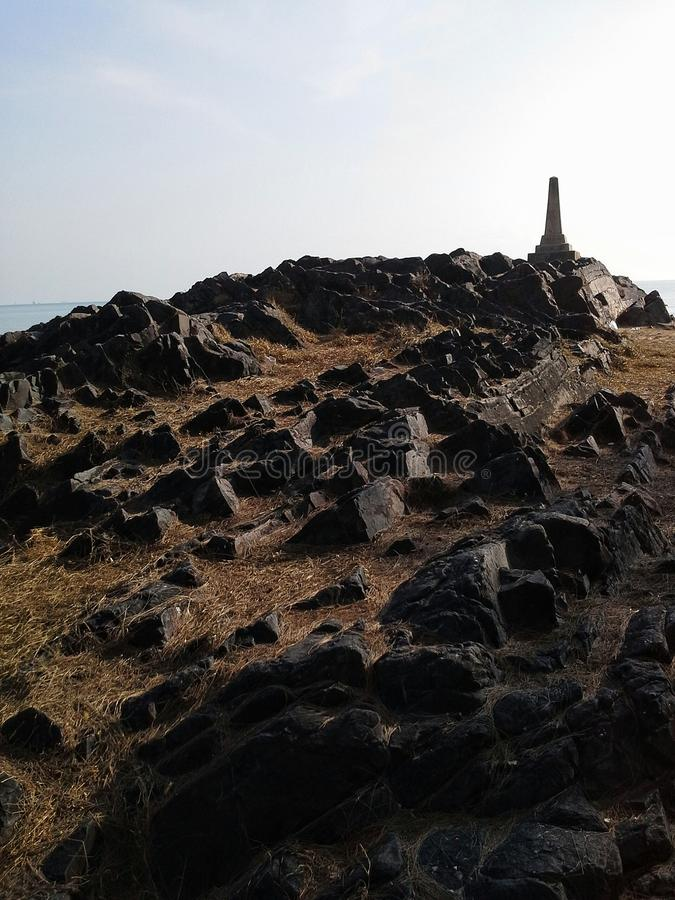 The rocks nears pin of Samila beach ,Songkhla , Thailand. The rocks nears pin of Samila beach , Songkhla , Thailand royalty free stock images