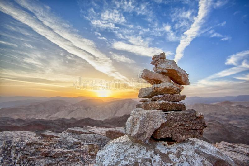 Rocks over mountain landscape stock photo