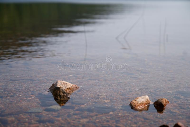 Rocks peaking through water surface. A view of a pond with rocks poking through the surface stock images