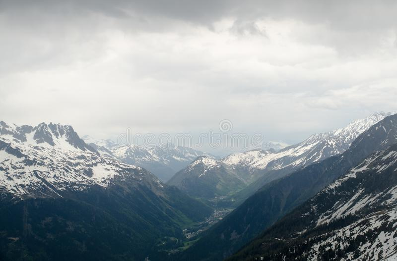 Rocks and peaks of the French Alps mountains. Mont Blanc massif, Aiguille du Midi royalty free stock photo