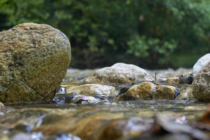Rocks in the river. Rocks splattered by river water stock image