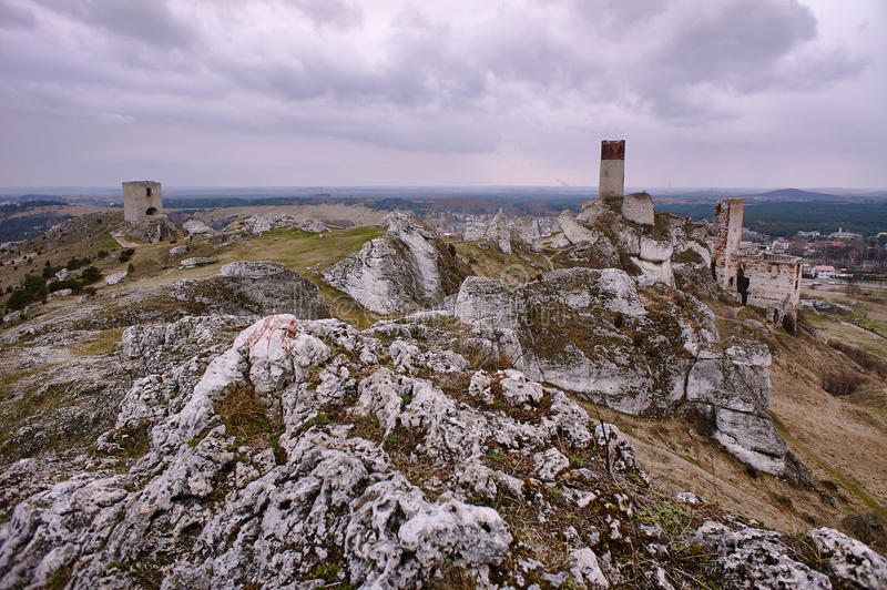 Rocks and ruined medieval castle royalty free stock photography