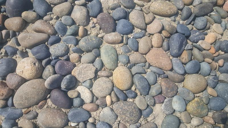 Rocks peddles beach natural abstract texture. San Diego, United States - September 27, 2015 : In all colors rocks on the beach between San Diego and Los Angeles royalty free stock photography