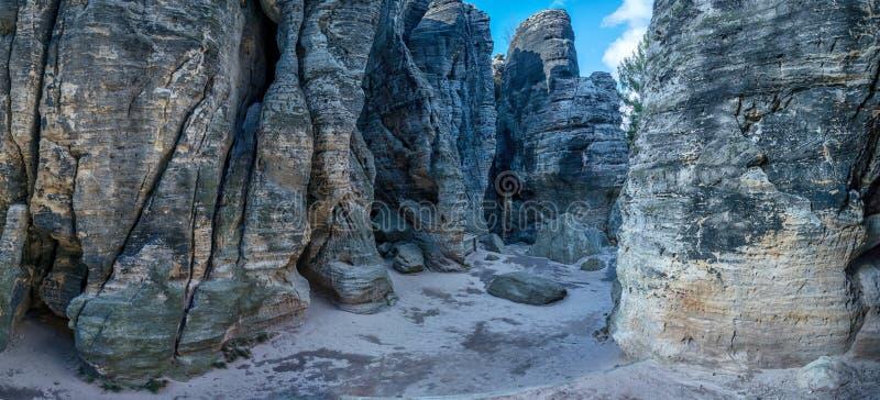 Rocks in Sandstone Mountains The Tisa Rocks, Tisa Walls, Czech republic. Rocks in Sandstone Mountains The Tisa Rocks, Tisa Walls Tiske steny, Tyssaer Wände stock images