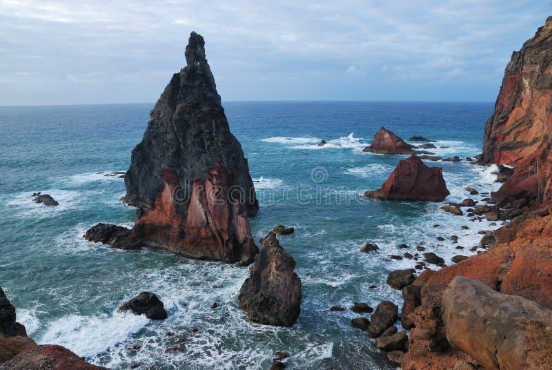 Rocks on sao lourenco, maderia, portugal royalty free stock photo