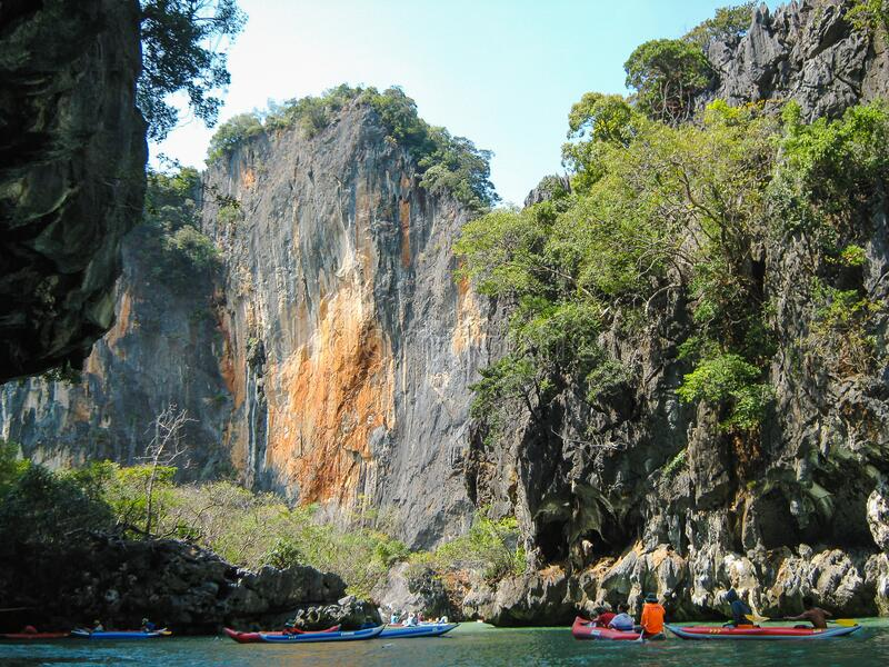 Thailand. Excursion to the islands of the Andaman Sea. Trees on the sea rocks. Nature near Phuket. stock images