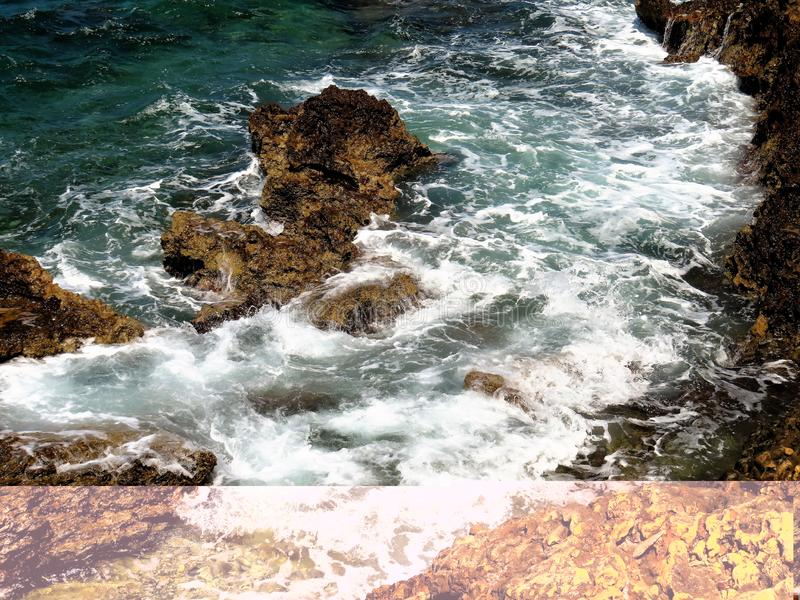 Rocks, sea and surf, Chania, Crete. Rocks, sea, and surf from the coastal walkway, Chania, Crete, Greece stock photography