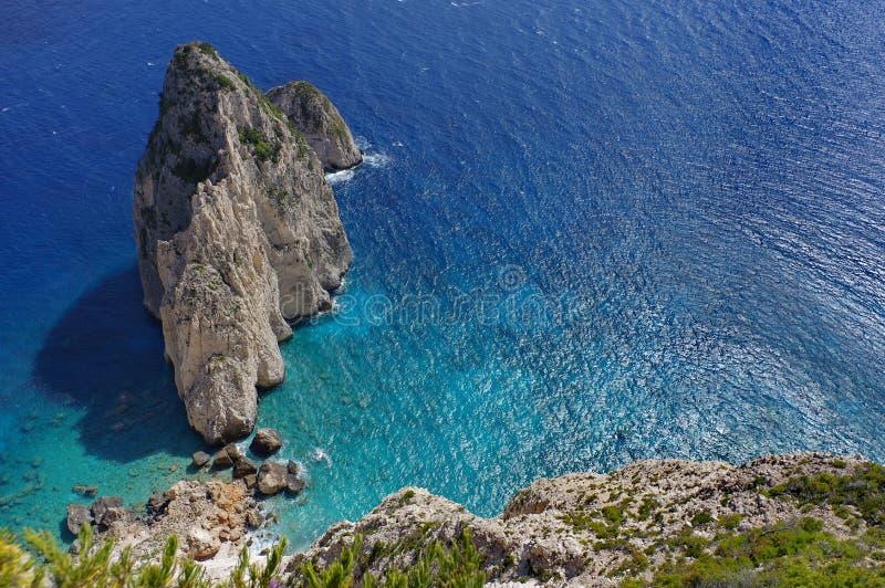 Summer landscape. Rocks in sea water - Ionian Sea, Zakynthos Island, landmark attraction in Greece. Seascape royalty free stock photography