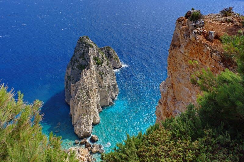 Summer landscape. Rocks in sea water - Zakynthos Island, landmark attraction in Greece. Seascape stock image