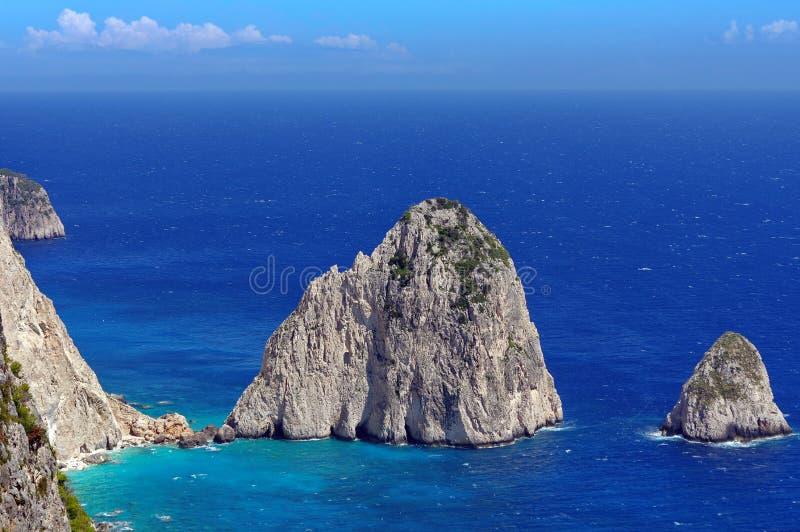 Summer landscape. Rocks in sea water - Ionian Sea, Zakynthos Island, landmark attraction in Greece. Seascape royalty free stock images