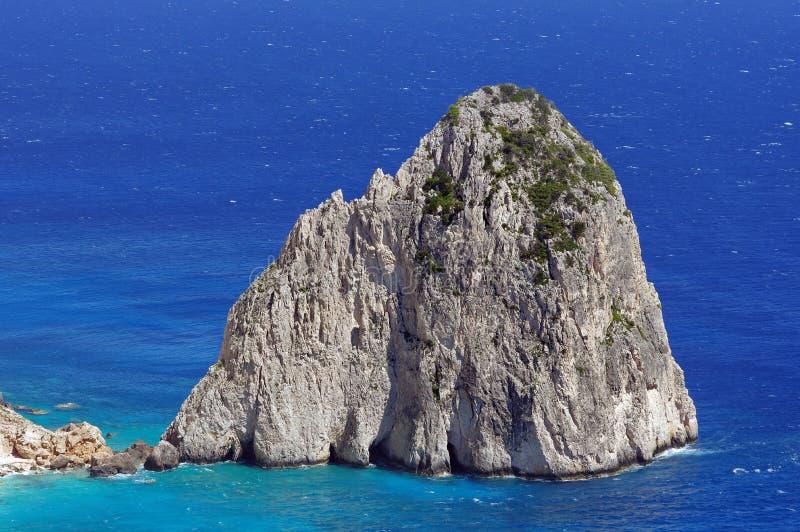 Rocks in sea water - Ionian Sea, Zakynthos Island, landmark attraction in Greece. Seascape stock photography