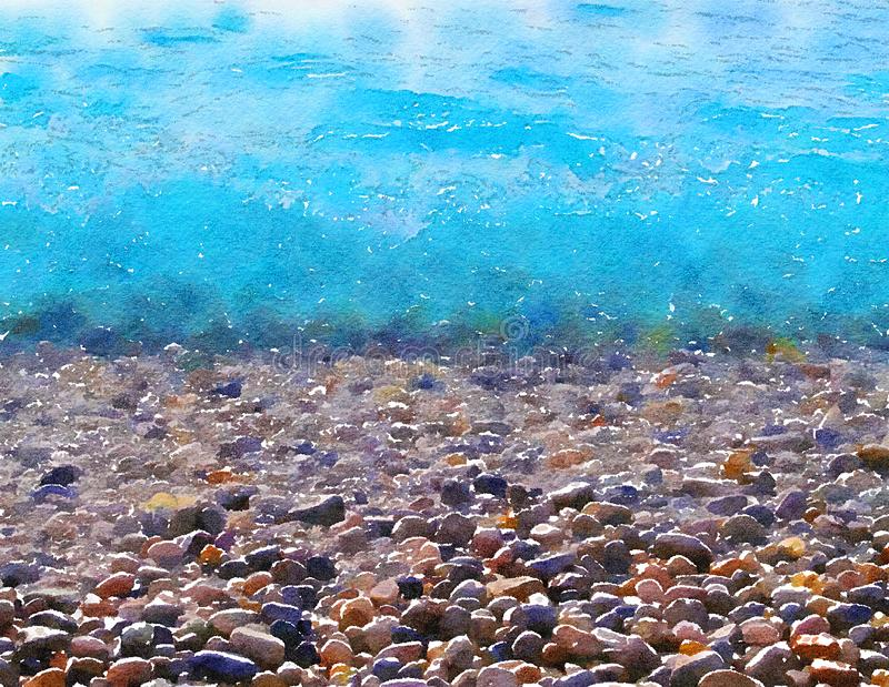Rocks and sea. Watercolor stylization. vector illustration
