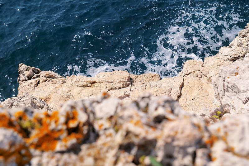 Download Rocks At Seashore Of Adriatic Sea, Mediterranean, Closeup. Aerial Top View Of Sea Waves Hitting Rocks On The Beach. Stock Image - Image of seashore, adriatic: 109453455