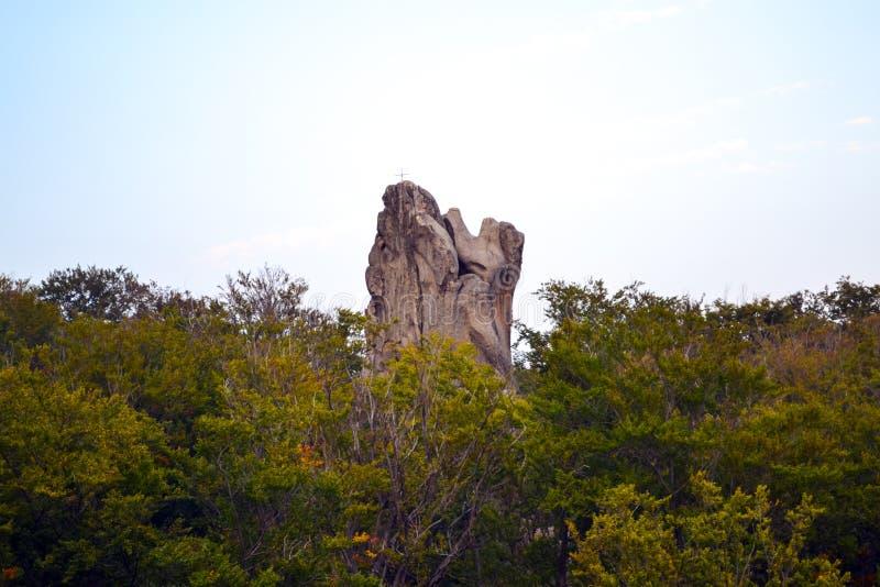 Rocks, sky, mountains an forest. Carpathian mountains. Ukraine stock images