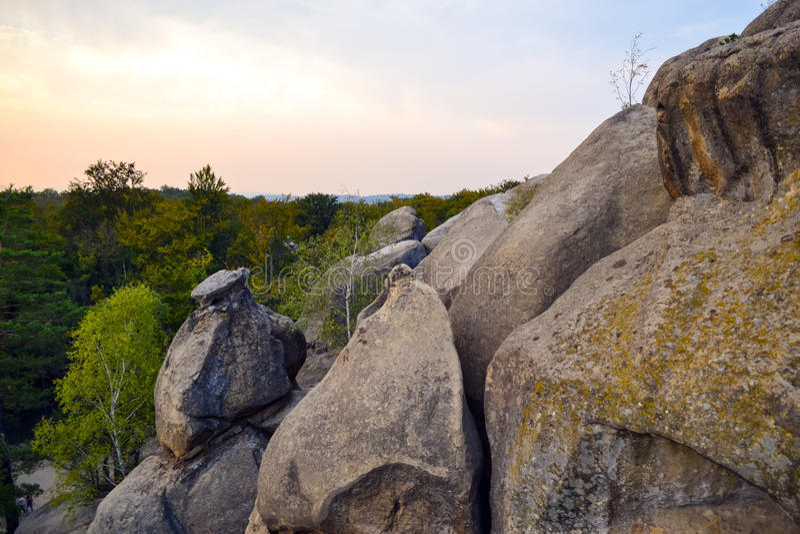 Rocks, sky, mountains an forest. Carpathian mountains. Ukraine royalty free stock image