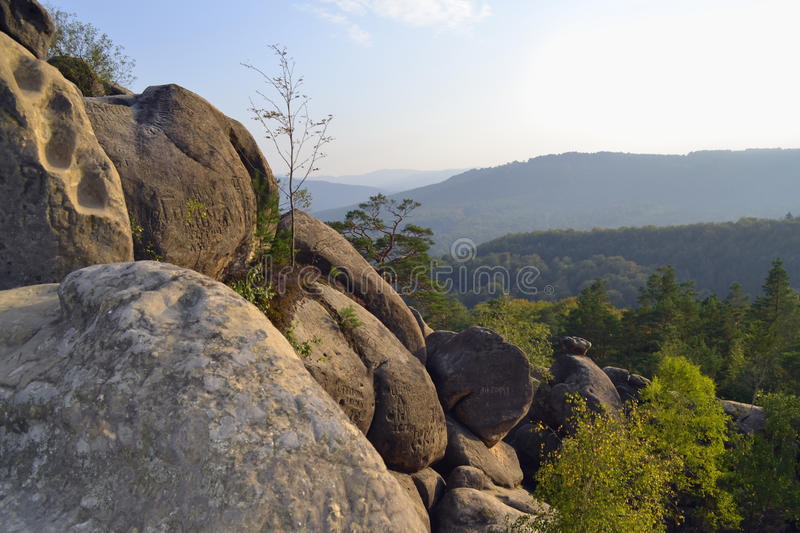 Rocks, sky, mountains an forest. Carpathian mountains. Ukraine royalty free stock images