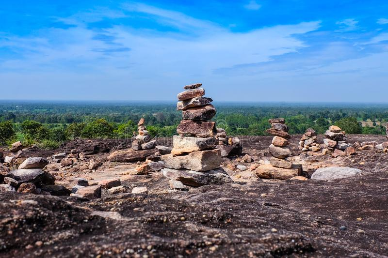 Rocks stacked on high mountains. Mountain top view and sky cloud stock photo