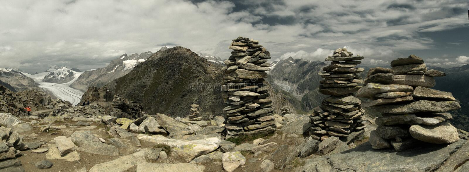 Rocks stacked on the peaks; terrain next to Eggishorn station. Rocks stacked near the cable-car station at Eggishorn, Valais in the Swiss Alps royalty free stock photos