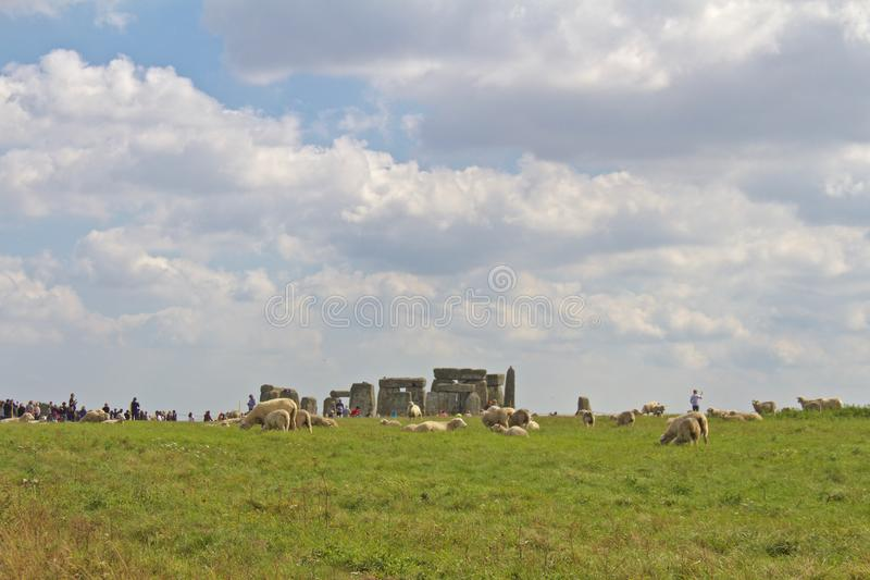 Rocks of Stonehenge On a Cloudy Summer Day, Textured Stone royalty free stock images