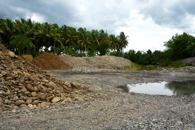 Riverbank protection in Bulatukan river, New Clarin, Bansalan, Davao del Sur, Philippines. stock images