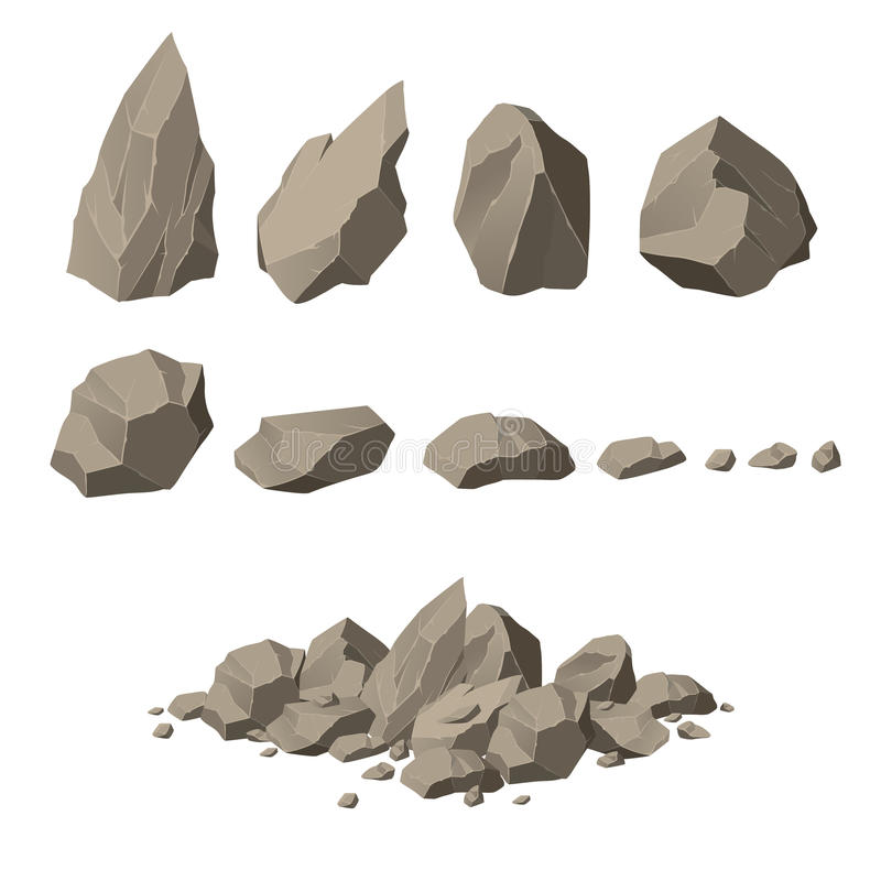 Rocks and stones set. In vector royalty free illustration