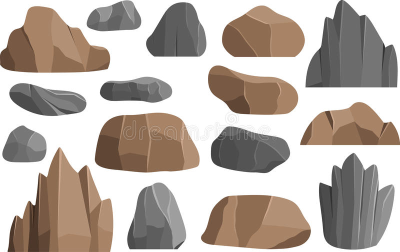 Rocks and stones vector icons building mineral pile vector illustration geology mountains. Stones rocks in cartoon style big building mineral pile. Boulder vector illustration