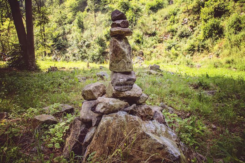 Rocks stones zen installation in summer nature. In Bohemia royalty free stock photography