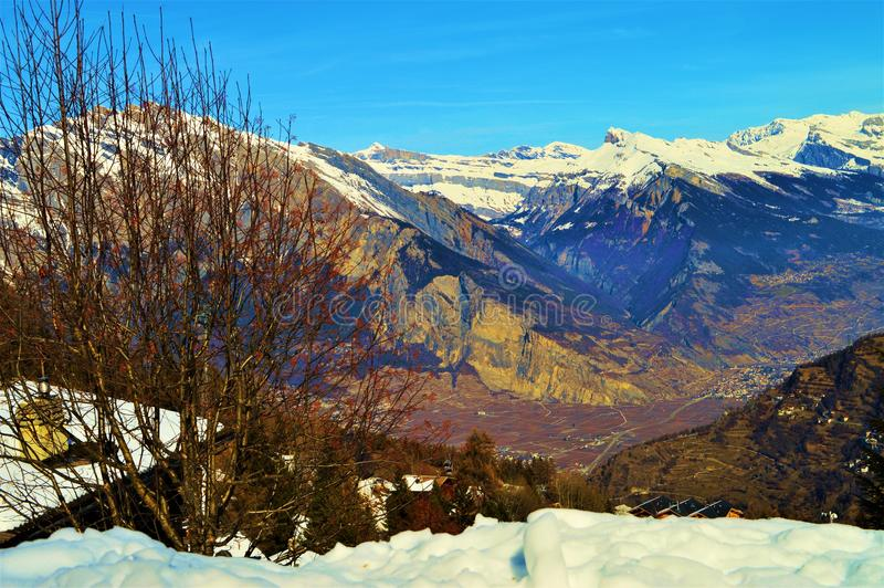 Rocks in Swiss Alps. Beautiful rocks in the beautiful range of Swiss Alps mountains in Switzerland. Romantic landscape royalty free stock photos