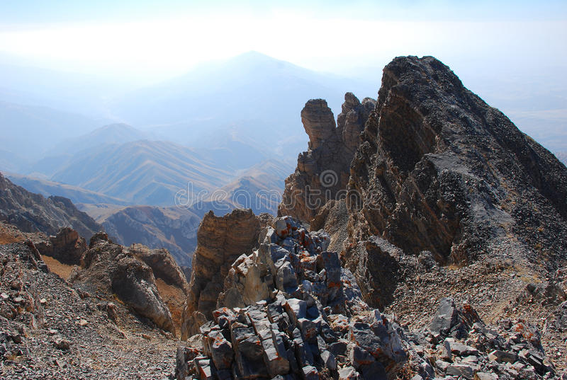 Rocks on the top of the mountains of Tien Shan royalty free stock images